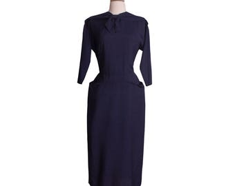 1940s-1950s Vintage Navy Blue Wiggle Dress, Midcentury 40s 50s Shantung Rayon Sailor Collar Hourglass Sheath Day Dress by Pomette Medium