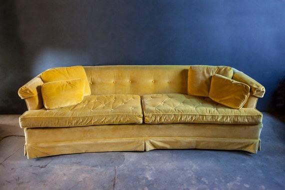 Mid Century Yellow Velvet Drexel Sofa Couch