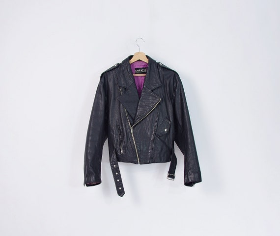 80s Unique CREATIS by Marcel Marongiu Designer Zipped Men's Biker Jacket / Size M