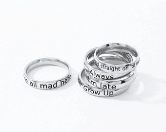 Personalized Ring, Custom Ring, Personalized Quote, Custom Name Ring, Custom Name Jewelry, Personalized Jewelry, Stamped Ring, Stacking Ring