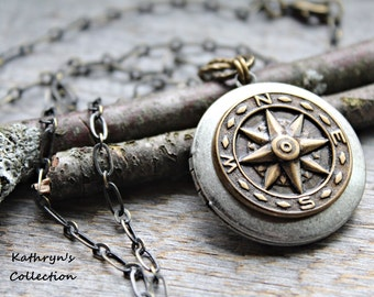 Compass Locket, Compass Necklace, Compass Jewelry, Rustic Compass, Wanderlust