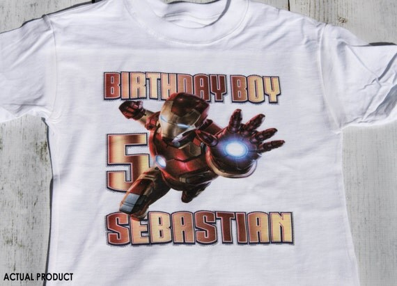 Personalized Iron Man Birthday T Shirt - stark, marvel, comic book, superman, avengers, hulk, party