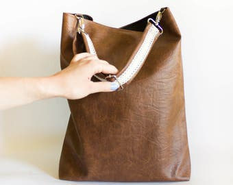 Brown Tote Bag, Large Tote Bag Cognac bag Brown Hobo Bag Brown Shoulder Bag Vegan leather Bag Brown Handbag Lace Tote bag Faux leather bag