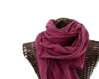 Dusty Plum Scarf, Extra Large Purple Scarf, Cotton Gauze, Mens Nomad Scarf, Womens Wrap, Lightweight Travel Shawl, Purple Cotton Scarf