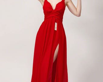 Open Back Red Maxi Length Evening Gown with Skirt Slit and Ruched Empire Waistline/Red Empire Waist Prom Dress with Sweetheart Neckline B431
