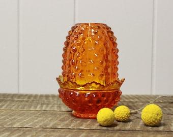 Fenton Orange Amberina Fairy Lamp