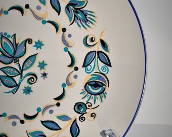 2 Vintage Dinner Plates, Taylor Smith & Taylor, Dutch Onion Pattern, Flowered Dishes, Retro Kitchen, Blue White Mid Century China