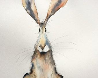 Bernard - Large Original Watercolour and Ink hare painting