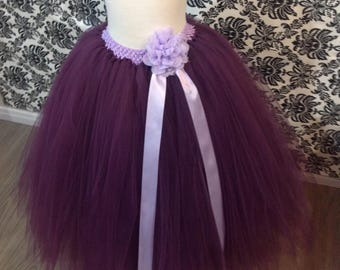 Long Eggplant Tutu Skirt, Plum Tutu, Long Flower Girl Tutu, Dark Purple Long Tutu, Plum Purple Long Tutu Skirt, Long Children Tutu, Purple