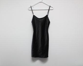 90's Black Satin Clueless Bead Detail Mini Slip Dress