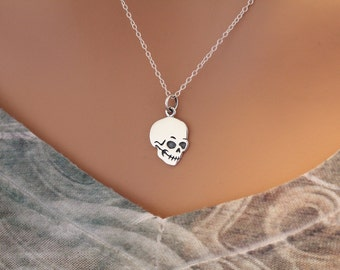 Sterling Silver Flat Skull Charm Necklace, Skull Necklace, Skull Charm Necklace, Silver Skull Charm Necklace, Skull Pendant Necklace