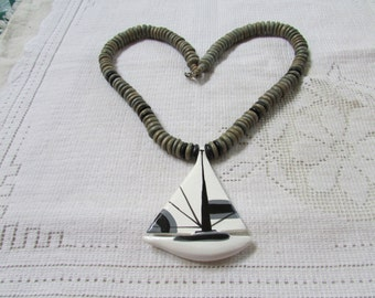 Vintage chunky wood bead necklace with hand painted huge sailboat 70's