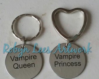 Vampire Queen & Vampire Princess Engraved Stainless Steel Disc Keyrings Set of 2 on Round or Heart Silver Split Rings. Couples, Love