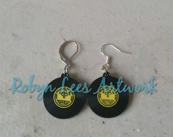 Small Vinyl Record Acrylic Charm Earrings on Silver Hooks or Leverbacks. 50s, Retro, Black & Yellow, Music, Band