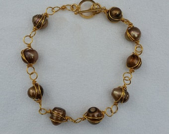 Wire-wrapped Chocolate Freshwater Pearls Bracelet