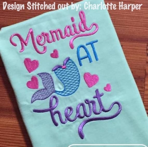 Mermaid at heart saying embroidery design - Mermaid embroidery design - summer embroidery design - girl embroidery design -beach embroidery