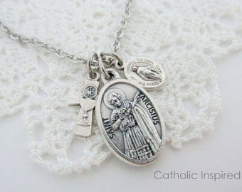 First Communion St Tarcisius Necklace Holy Eucharist Blessed Sacrament Chalice Miraculous Medal Boys Male Jewelry Catholic Stainless Steel