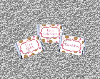 Pink and Gold baby shower Mini Candy Bar Wrappers Printable, Girl Baby Shower - Glitter Dots Baby Shower, INSTANT DOWNLOAD 002-A