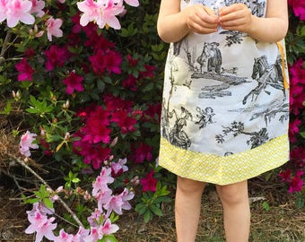 Reversible Toile & Geometric Yellow Pillow Case Dress - Girls Dresses - Custom Boutique Clothing - French Print Gray and Yellow - Easter