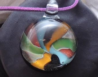 Handmade Lampwork Glass Vortex Technique Pendant