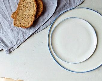 Ceramic plate,blue white porcelain,ceramic dinnerware,dinner plate,dessert plate,plate set,rustic pottery,porcelain plate,stoneware plates