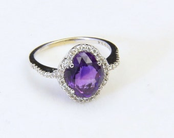 Vintage Sterling Silver Amethyst & White Topaz Halo Gemstone Ring Sz 6