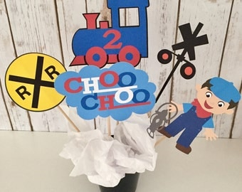 5 Piece Train Centerpiece, Train Cake Topper, Train Birthday Decoration, Train Birthday Party Decor, Choo Choo Train, Table Toppers