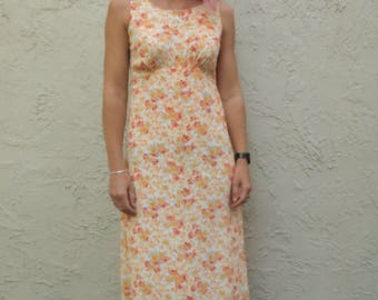 90's floral maxi shift dress