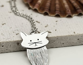 Twitching Ears Cat Necklace - Sterling Silver Cat Gift