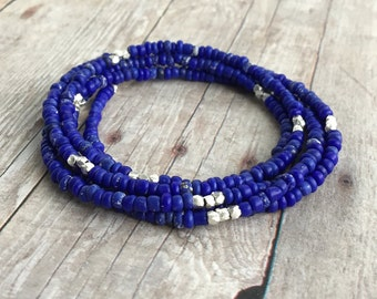 Tiny Beaded Necklace or Multi Wrap Bracelet / Royal Blue Jewelry / Long Seed Bead Necklace / Hill Tribe Silver Jewelry