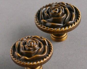 Rose shape cabinet knobs dresser knobs coffee color pastoral style door knobs  057