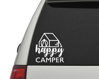 Happy Camper Vinyl Decal, , Laptop Decal, Car Decal, Choose Color And Size