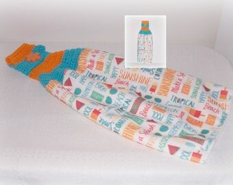 Crochet Beach Hanging Towel Summer Tropical Crochet Towel Topper Kitchen Hanging Dish Towel Housewarming Gift Orange Teal Multi Color Towel