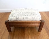 African Mudcloth Vintage Wood Ottoman, Footstool, Footrest, Bench, Stool. African Mud Cloth Carved Wood Ottoman Footrest.