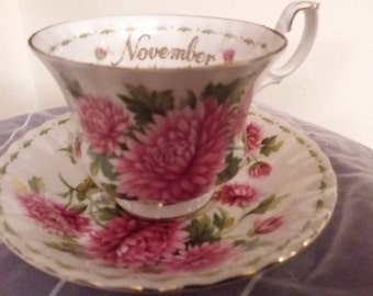 Royal Albert November Chrysanthemum Bone China Teacup & Saucer