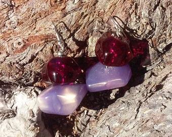 Iridescent Violet Dangle Earrings