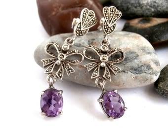Amethyst Earrings - Sterling Silver - Marcasite Earrings - Vintage Jewellery