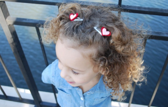Girls Red and Pink Heart Hair Clip Set - Heart Hair Clips - Felt Heart Hair Clips - Girls Hair Clips -Baby Girl Hair Clips-Kids Hair Clips