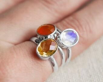 Set of 3 Stackable Gemstone Rings - Citrine, Moonstone & Carnelian - Sterling Silver