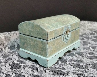Jewelry Box, Shabby Chic Box, Vintage Jewelry Box, Aqua, RobinsStudio, Rustic, Cottage, Vintage, Recycled, Country, Decoupage, Chic, Gift