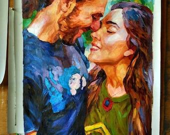 Hand painted Impressionist portrait art from photo, photo into oil painting,custom portrait oil painting ,  portrait commission