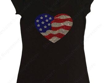 "Women's Rhinestone T-Shirt "" 4th of July American Flag Heart "" in S, M, L, 1x, 2x, 3x"