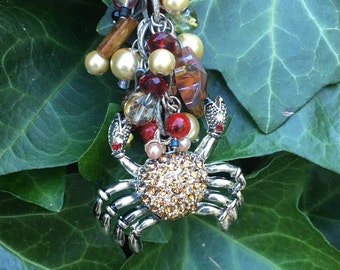 rear view mirror charm boho rhinestone crab car accessories stone & glass beaded car charm sparkly silver crystal pearl starfish charm