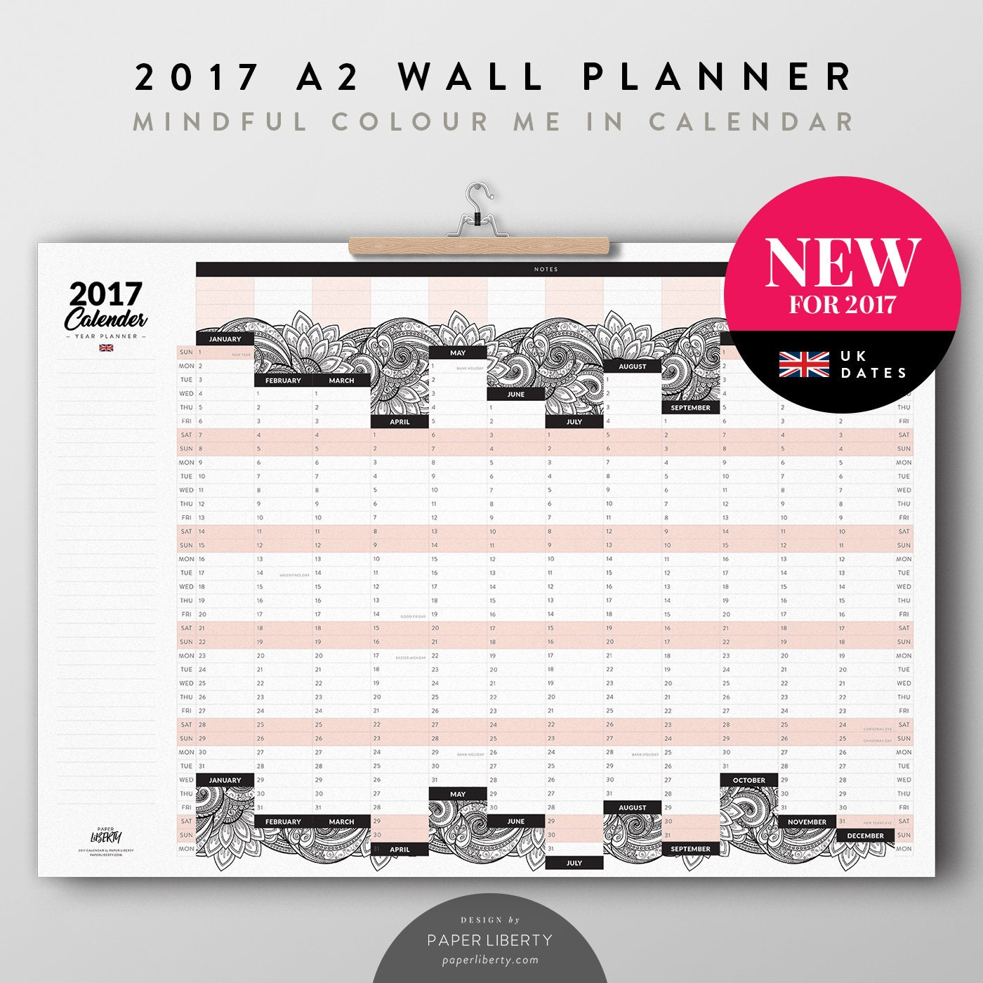 2017 A2 Large Wall Planner Mindful Colour Me In Calendar