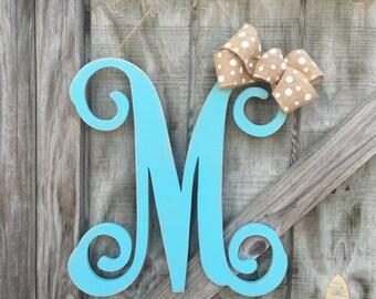 Front door decor, Front door hanger, monogram door hanger, single monogram, wood monogram,