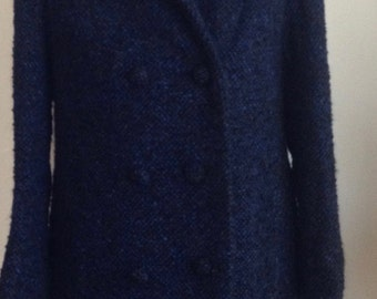 1960s Classic Blue Wool Custom Made Tweed Coat/xs/60s/ Vintage/Double Breasted