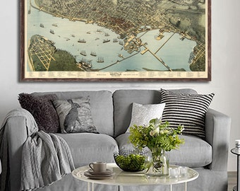 "1891 Seattle panorama, Vintage Seattle map home decor reprint - 4 large sizes up to 54"" x36"""