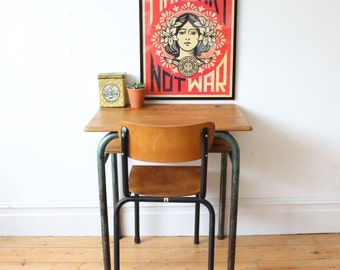 Vintage French school desk with shelf