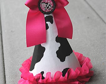 Cow print Party Hat - First Birthday Hat - Cake Smash Hat - Cake Smash outfit - Girls First Birthday - photo prop - farm party hat