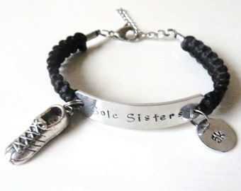 Sole Sisters Running 5k 10k Marathon Half Marathon Love to Run Charm Bracelet You Choose Cord Color(s)